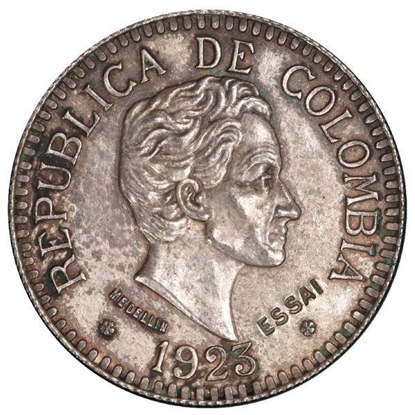 Medellin, Colombia (struck in Paris), silver specimen pattern (essai) for gold 2-1/2 pesos, 1923, re