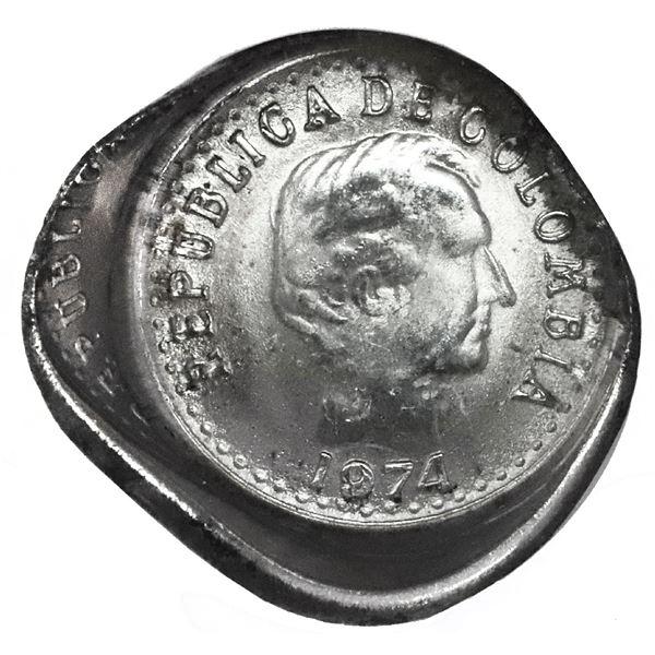 Colombia, copper-nickel 10 centavos, 1974, NGC Mint Error MS 65, obverse die cap.