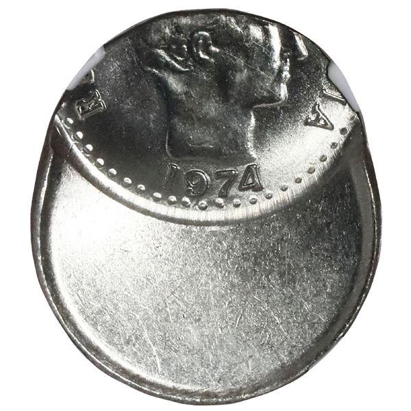Colombia, copper-nickel 10 centavos, 1974, NGC Mint Error MS 64, struck 60% off-center.