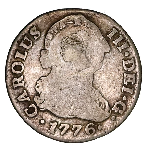 Costa Rica, 2 reales, female head / ceiba tree double countermark (Type III, 1845) on a Seville, Spa