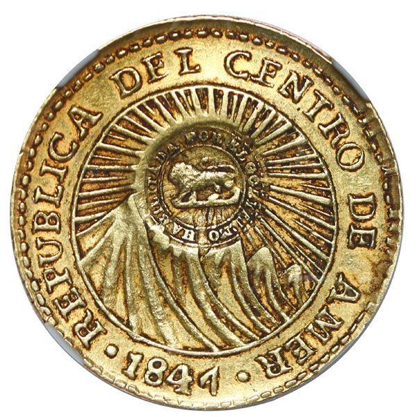 Costa Rica, gold 1 escudo, double lion countermark (Type VI, 1849-57) on a Central American Republic