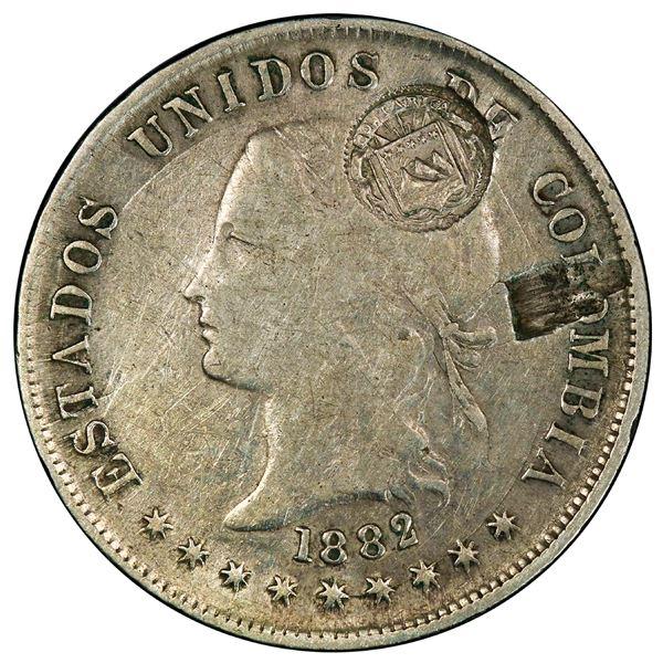 Costa Rica, 50 centavos, lion counterstamp (Type VII, 1889) on a Bogota, Colombia, 50 centavos, 1882