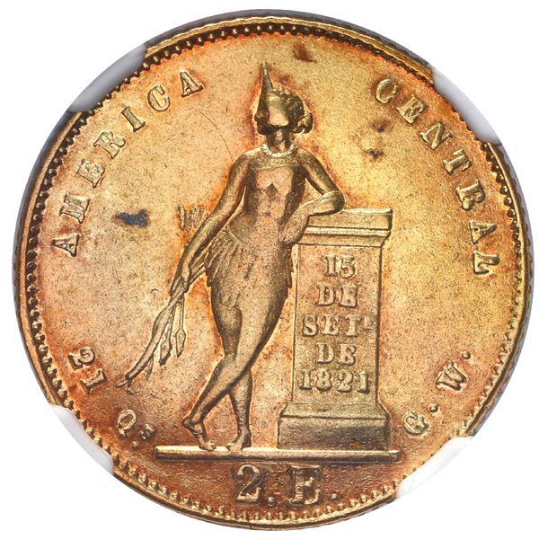 Costa Rica, gold 2 escudos, 1858 GW, NGC AU 53.