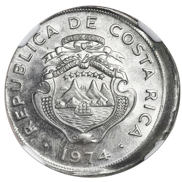 Costa Rica, copper-nickel 25 centimos, 1974 BCCR, NGC Mint Error MS 65, struck 10% off center.