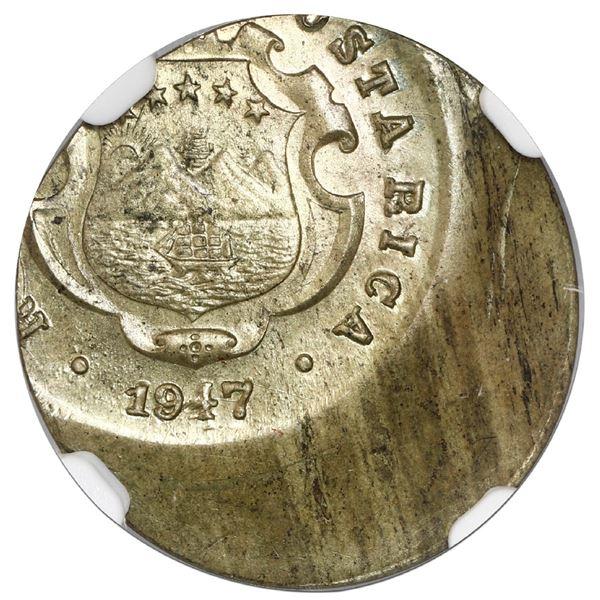 """Costa Rica, brass 10 centimos, 1947 BNCR, NGC Mint Error MS 65 (""""top pop""""), struck 30% off center."""