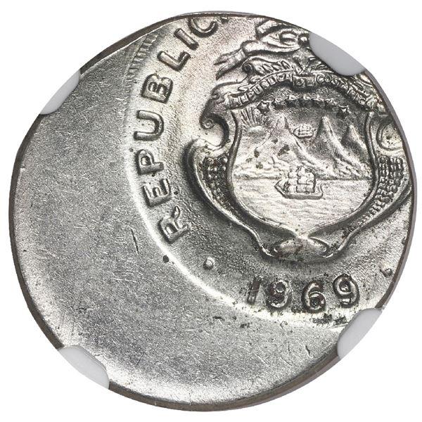Costa Rica, copper-nickel 10 centimos, 1969 BCCR, NGC Mint Error MS 63, struck 40% off center.