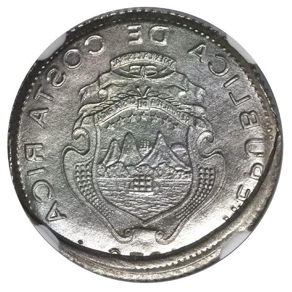 Costa Rica, nickel 10 centimos, 1976 BCCR, NGC Mint Error MS 65, reverse struck thru capped die.