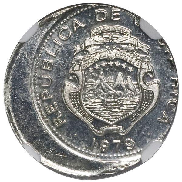 Costa Rica, nickel-plated steel 10 centimos, 1979 BCCR, NGC Mint Error UNC details, struck 15% off c