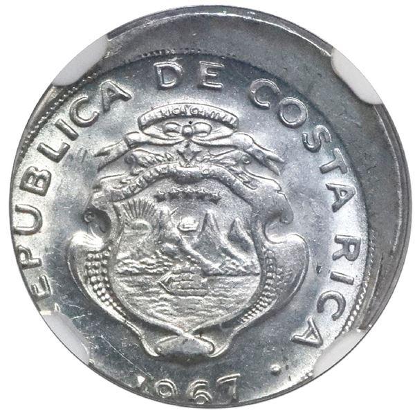 Costa Rica, stainless steel 5 centimos, 1967 BCCR, NGC Mint Error MS 64, struck 10% off center.