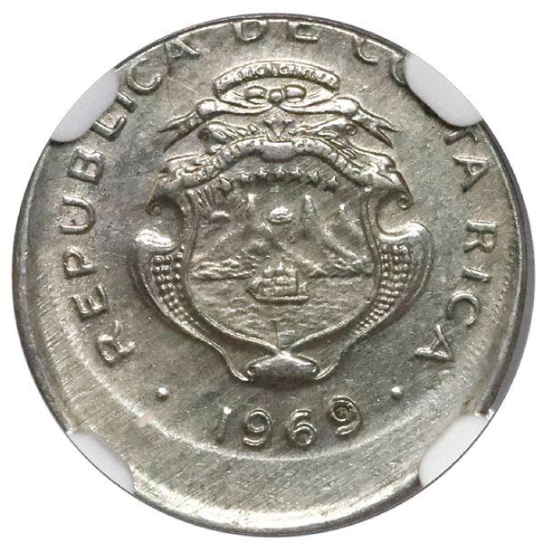 Costa Rica, copper-nickel 5 centimos, 1969 BCCR, NGC Mint Error UNC details, struck 15% off center /