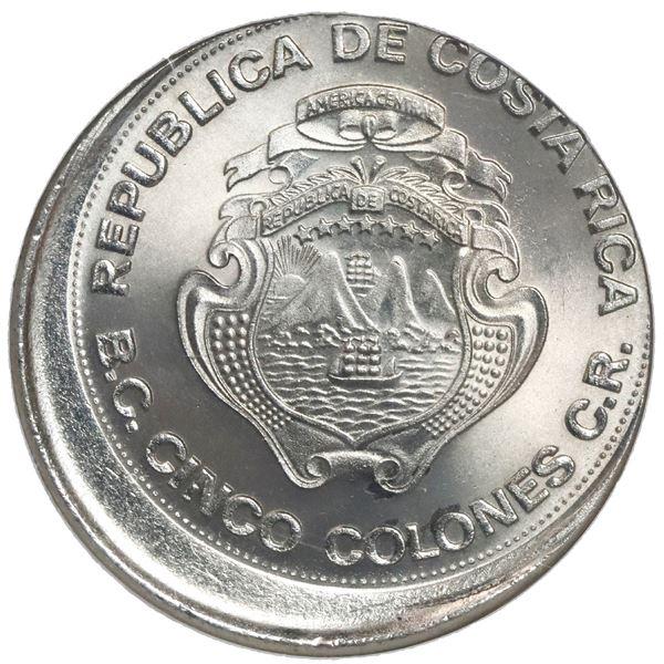 """Costa Rica, copper-nickel 5 colones, 1975 BCCR, NGC Mint Error MS 67 (""""top pop""""), struck 10% off cen"""