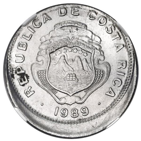 Costa Rica, stainless steel 1 colon, 1989 BCCR, NGC Mint Error MS 63, struck 10% off center.