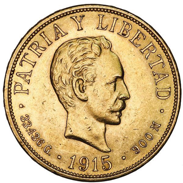 Cuba (struck at the Philadelphia mint), gold 20 pesos, 1915, NGC MS 61.