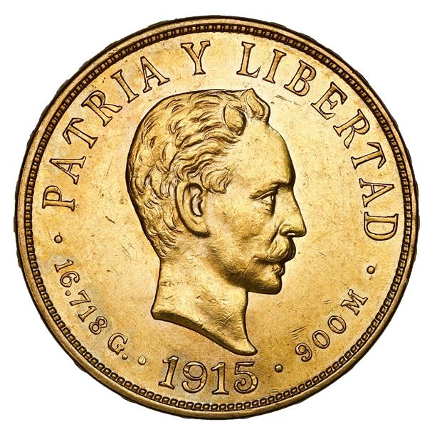 Cuba (struck at the Philadelphia mint), gold 10 pesos, 1915, NGC MS 60.