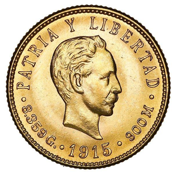 Cuba (struck at the Philadelphia mint), gold 5 pesos, 1915, NGC MS 63.