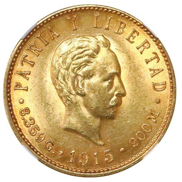 Cuba (struck at the Philadelphia mint), gold 5 pesos, 1915, NGC MS 62.