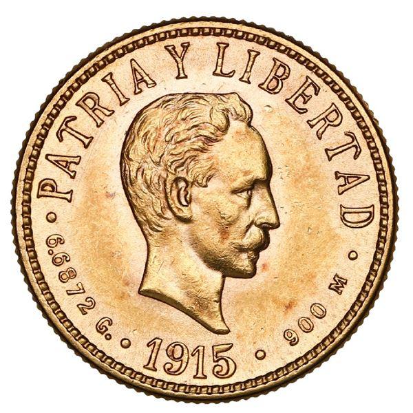 Cuba (struck at the Philadelphia mint), gold 4 pesos, 1915, NGC MS 62.