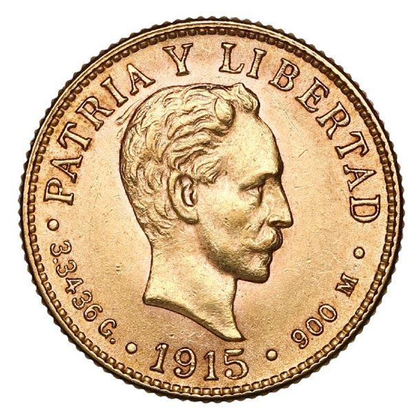 Cuba (struck at the Philadelphia mint), gold 2 pesos, 1915, NGC MS 62.