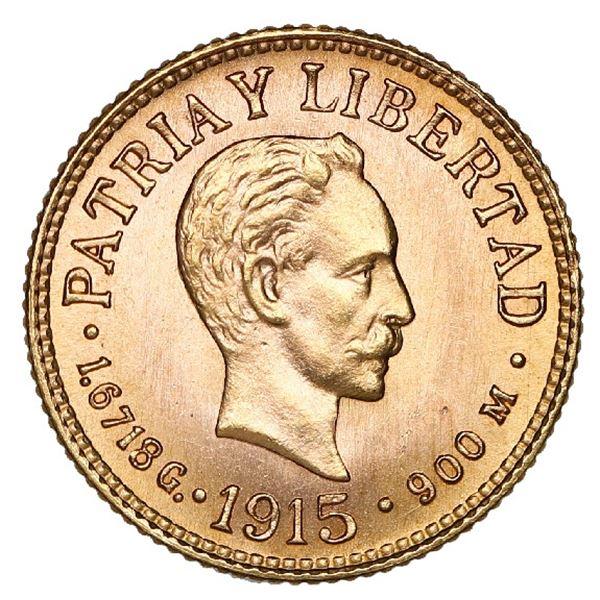 Cuba (struck at the Philadelphia mint), gold 1 peso, 1915, NGC MS 67.