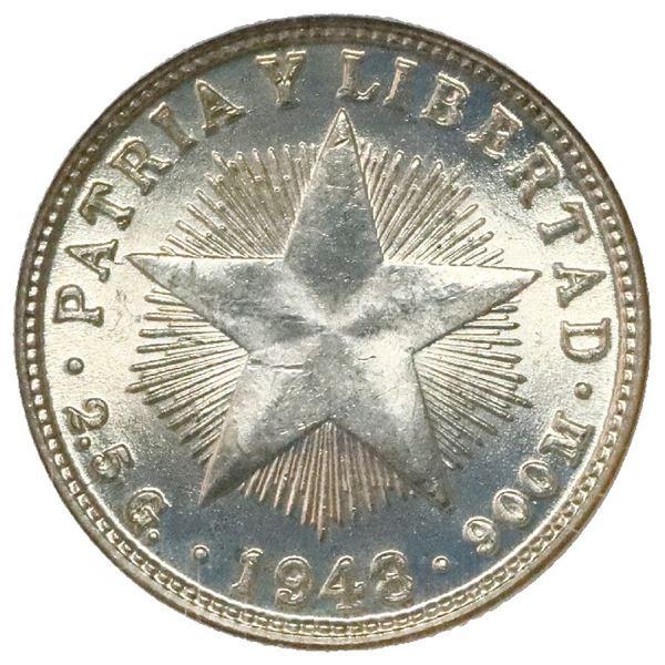 Cuba, 10 centavos, 1948, NGC MS 65, ex-Rudman.