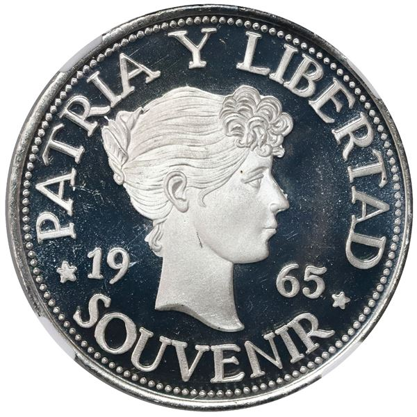 """Cuba, proof """"souvenir"""" peso (""""Bay of Pigs"""" exile issue), 1965, lettered edge, NGC PF 69 Ultra Cameo"""