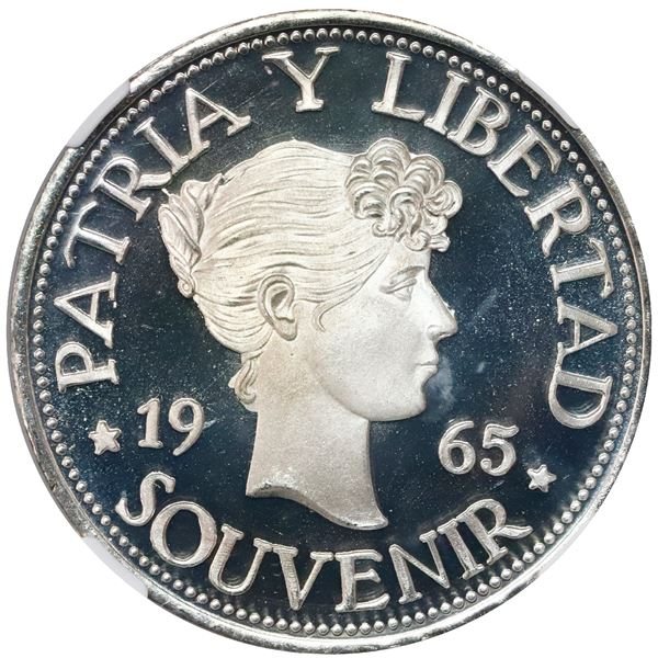 """Cuba, proof """"souvenir"""" peso (""""Bay of Pigs"""" exile issue), 1965, lettered edge, NGC PF 68 Ultra Cameo."""