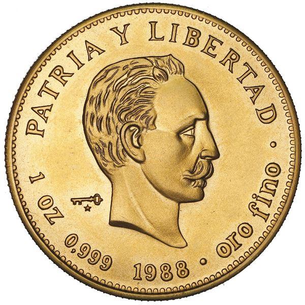 Cuba, gold 100 pesos, 1988, Jose Marti, NGC MS 69.