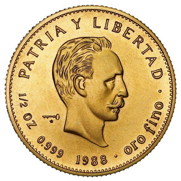 Cuba, gold 50 pesos, 1988, Jose Marti, NGC MS 69.
