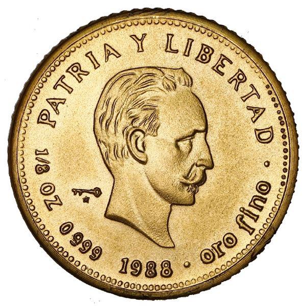 """Cuba, gold 15 pesos, 1988, Jose Marti, NGC MS 69 (""""top pop"""")."""