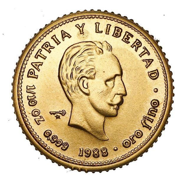 Cuba, gold 10 pesos, 1988, Jose Marti, NGC MS 69.
