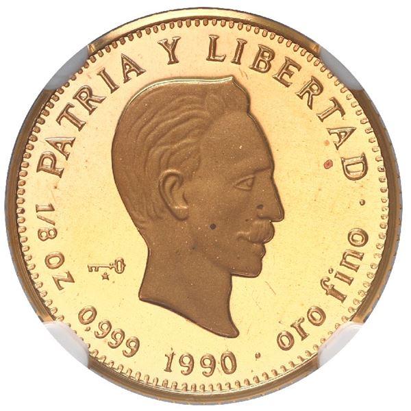 Cuba, gold 15 pesos, 1990, Jose Marti, NGC PF 68 Ultra Cameo, ex-Rudman (stated on label).