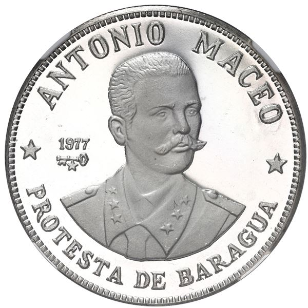 Cuba, proof silver 20 pesos, 1977, Antonio Maceo, NGC PF 67 Ultra Cameo.
