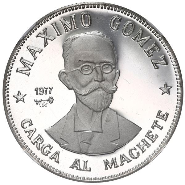 Cuba, proof silver 20 pesos, 1977, Maximo Gomez, NGC PF 67 Ultra Cameo.