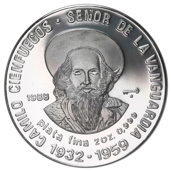"Cuba, proof silver 20 pesos (2 oz), 1988, Camilo Cienfuegos, NGC PF 68 Ultra Cameo (""top pop"")."