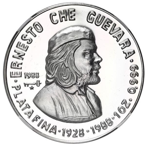 "Cuba, proof silver 10 pesos, 1988, 60th Anniversary of Birth of Ernesto ""Che"" Guevara, NGC PF 66 Ult"