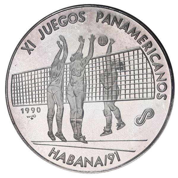 Cuba, piefort silver 10 pesos, 1990, XI Pan American Games Havana 1991 / volleyball, NGC PF 66 Cameo
