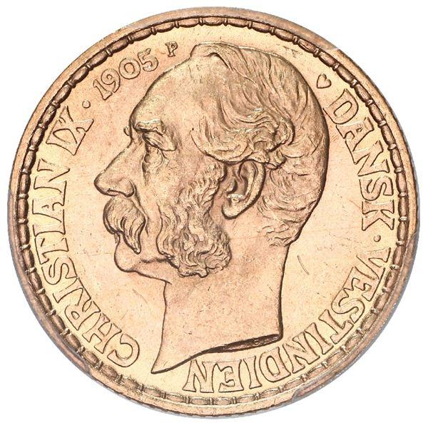 Danish West Indies, gold 4 daler, Christian IX, 1905, mint master P, moneyer GJ, PCGS MS65.