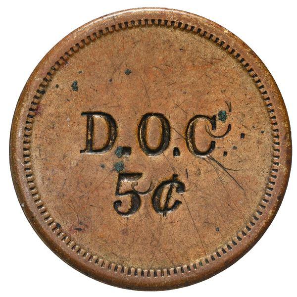 Danish West Indies, small uniface brass 5 cents token, D.O.C., ca. 1890, unique, ex-Byrne, Higgie Pl