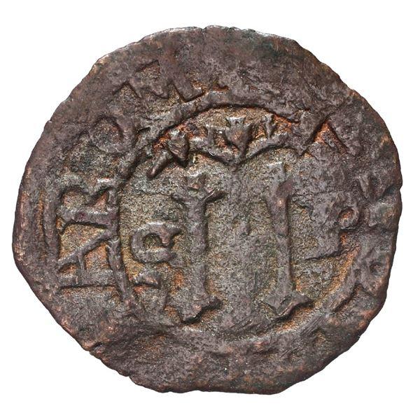 Santo Domingo, Dominican Republic, copper 2 maravedis, Charles-Joanna, assayer F, very rare.