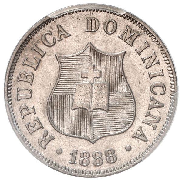 Dominican Republic (struck at the Paris Mint), copper-nickel 2-1/2 centavos, 1888-A, PCGS MS 64, ex-