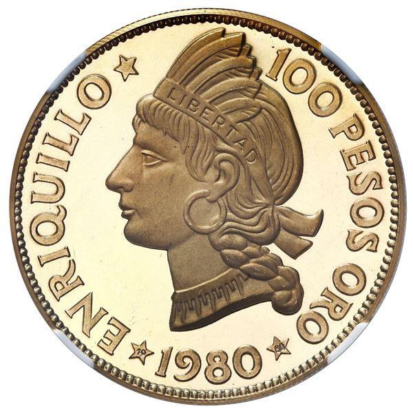 Dominican Republic, gold proof 100 pesos (1 oz medallic coinage), 1980, Enriquillo, NGC PF 68 Ultra