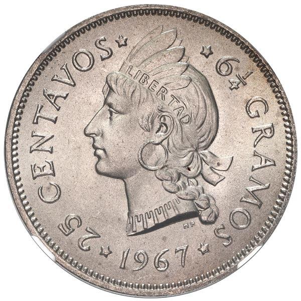 """Dominican Republic, copper-nickel 25 centavos, 1967, MS 67 (""""top pop""""), Ex-Rudman."""