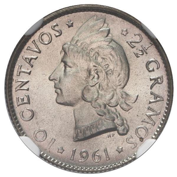 """Dominican Republic, silver 10 centavos, 1961, NGC MS 67 (""""top pop""""), ex-Rudman."""