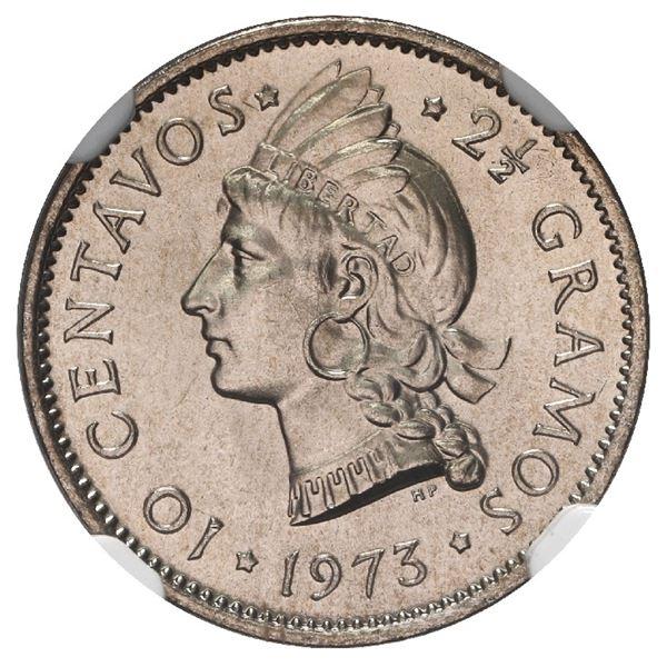 """Dominican Republic, copper-nickel 10 centavos, 1973, NGC MS 68 (""""top pop""""), ex-Rudman."""