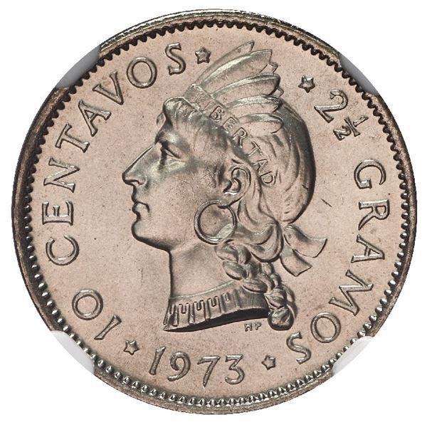Dominican Republic, copper-nickel 10 centavos, 1973, NGC MS 67, ex-Rudman.