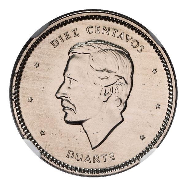 Dominican Republic, copper-nickel 10 centavos, 1986, NGC MS 67, ex-Rudman.