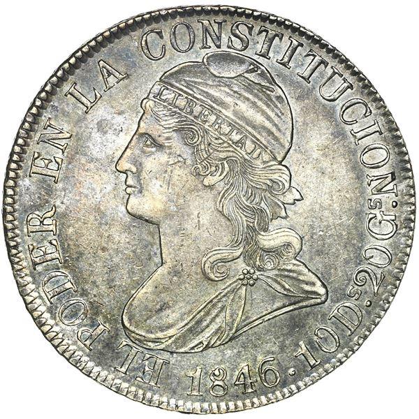 Quito, Ecuador, 8 reales, 1846 GJ, rare, NGC AU 55.