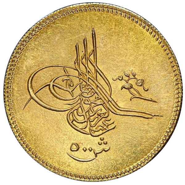 Egypt (Ottoman Empire), gold 500 qirsh, Abdul Aziz, AH1277//11 (1870-71), Cairo mint (Misr), NGC MS