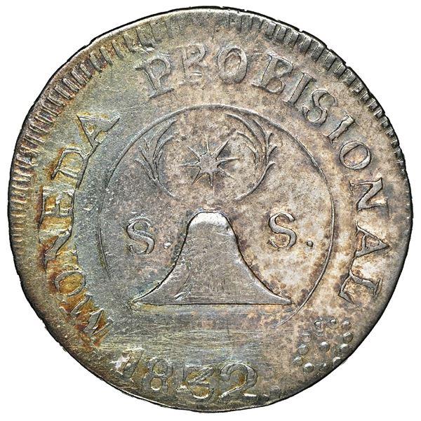 San Salvador, El Salvador, provisional 2 reales, 1832, no assayer, PROBICIONAL and SALVADORE, NGC VF