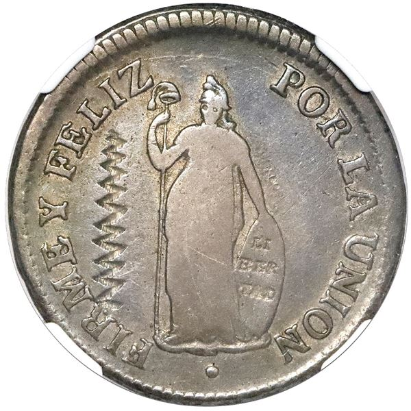 El Salvador, 2 reales, zigzag test mark (Type II, 1834-5) on obverse of Lima, Peru, 2 reales, 1828 J